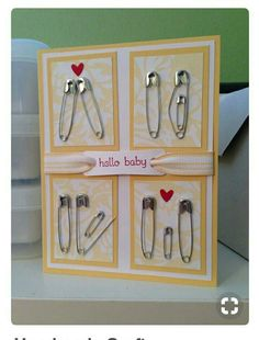 Karte zur Geburt Homemade baby shower cards (with 11 pins). Karte zur Geburt Homemade baby shower cards (with 11 pins). Pin Card, Card Card, Welcome Card, Diy Bebe, Baby Crafts, Handmade Crafts, Diy Cards Baby, Baby Shower Cards Handmade, Baby Shower Presents