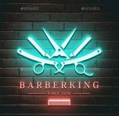 Buy Barberking Logo by pixellord on GraphicRiver. A nice blend of modern and classical barber shop logo.The concept is unique, incorporating a barbers tools with subtl. Barber Shop Interior, Barber Shop Decor, Barber Sign, Best Barber Shop, Barber Tattoo, Barbershop Design, Salon Design, Shop Logo, Decoration