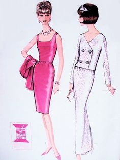 1960s  STUNNING Evening Dress and Jacket Pattern McCALLS 7547 Slim Cocktail or Full Length Dress Double Breasted Jacket Bust 32 Vintage Sewing Pattern