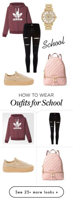 """""""School"""" by probelmsproject on Polyvore featuring adidas, River Island, Michael Kors, Puma and MICHAEL Michael Kors"""