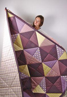 Купить Большое фиолетовое лоскутное одеяло - фиолетовый, лоскутное одеяло, лоскутное покрывало, лоскутный плед