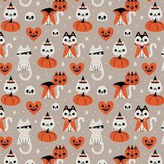 Colorful fabrics digitally printed by Spoonflower - Halloween Kitties (Gray) SMALL - Halloween Wallpaper Cute, Cute Fall Wallpaper, Halloween Backgrounds, Cute Halloween Pictures, Halloween Artwork, Halloween Icons, Halloween Prints, Wallpaper Ideas, Halloween Fabric