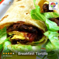 Breakfast Tortilla from Allreicpes.com #myplate #protein #veggies