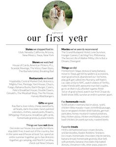 Best First Year Wedding Anniversary Gifts - This First Year Journal idea is perfect! I would even add a few categories, but I love this!! | Anniversary Gifts | First Year | One Year | Wedding | Ideas | Planning | www.templesquare.com/weddings/blog