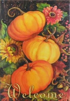 Pumpkin Trio House Flag - 2 Sided by Flag Trends. $24.95. Brand New Design. Readable on both sides.. Large Double Sided Decorative Flag is 28 in. x 40 in.. New for 2012. Pumpkin Trio Flag designed by Geoff Allen from Flag Trends. The flag features a trio of pumpkins surrounded by fall leaves, berries, sunflowers and acorns. It reads Welcome. Great flag to display all Fall Season thru Thanksgiving. The outdoor decorative flag measures 28 x 40 and is sleeved to go ...