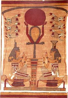 Osiris as the Djed Pillar holding the Disc of the Sun God Ra, surrounded by Isis and Nephthys, Egyptian Book of the Dead, Ani Papyrus. 'The motif symbolizes rebirth and the sunrise.'
