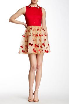 alice + olivia | Cherry Collar Sleeveless Silk Combo Pouf Dress | Nordstrom Rack