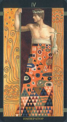 Atanas A. Atanassov ,Bulgarian ) : Golden Tarot of Klimt Major Arcana , The Emperor Gustav Klimt, Klimt Art, The Emperor Tarot, Woman In Gold, Vienna Secession, Ecole Art, Paul Gauguin, Tarot Decks, Modigliani