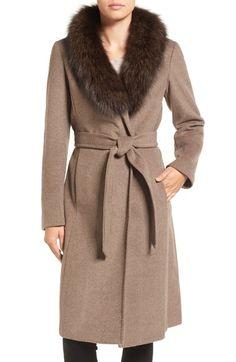 1c120159b51 Ellen Tracy Genuine Fox Collar Wool Blend Long Wrap Coat