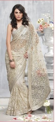 Natural Off White Net Saree with Blouse