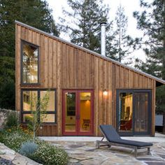 contemporary exterior by Cathy Schwabe Architecture. Lots of light for much smaller backyard studio, or back of house.