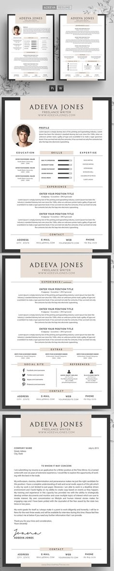 Professional Resume #Template Rania includes a 3 pages #resume, a - word professional resume template