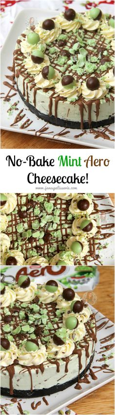 No-Bake Mint Aero Ch No-Bake Mint Aero Cheesecake! ❤️ A Creamy, Sweet, and Delicious No-Bake Mint Aero Cheesecake. Mint Oreo base, Mint Aero Cheesecake filling, and even more Mint! Aero Cheesecake, Low Carb Cheesecake, Cheesecake Recipes, Raspberry Cheesecake, No Bake Desserts, Delicious Desserts, Dessert Recipes, Yummy Food, Oreo Dessert