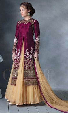 Magenta and Beige floor touch lehenga