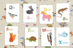 Английские карточки с буквами и картинками животных для детей