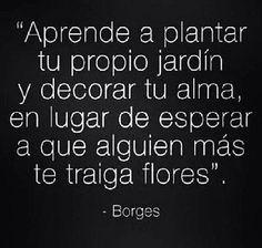 """""""Aprende a plantar tu propio jardín y decorar tu alma, en lugar de esperar a que alguien más te traiga flores"""". #frases #citas"""