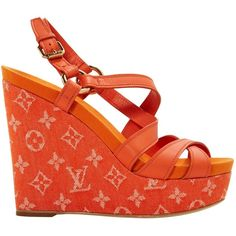 Pre-owned Louis Vuitton Leather Sandals ($565) ❤ liked on Polyvore featuring shoes, sandals, orange, women shoes sandals, orange sandals, louis vuitton shoes, wedge heel sandals, platform sandals and leather wedge sandals