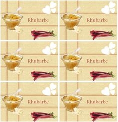 Étiquettes pour confiture de rhubarbe - Carterie Bilitis