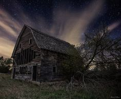 """FB page - HomeGroen Photography ♥ """"Forgotten in the Dark""""  Stars shine bright behind the light-polluted clouds over this long forgotten barn in Southeastern, South Dakota."""