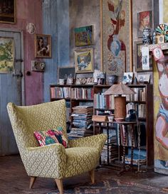 yellow velvet chair book corner colours