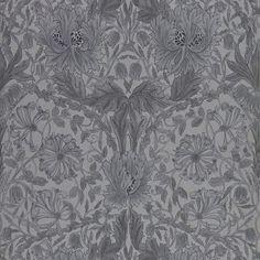 Pure Honeysuckle & Tulip Black Ink wallpaper for William Morris® – Fraktfritt online Gardens are not merely for lawns … Plain Wallpaper, Fabric Wallpaper, Wallpaper Roll, Bedroom Wallpaper, Painted Rug, Wallpaper Samples, Traditional Wallpaper, William Morris, Gray