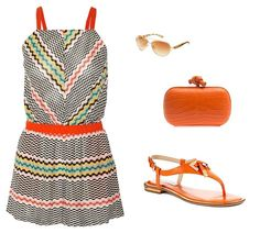 #summer #romper #orange #bright #sandals #clutch #missoni #vacation #beach #casual #poolside #resort @styleitapp #StyleIt