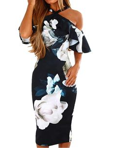 330946a233 Murimia Womens Dresses Summer Off The Shoulder Ruffle Floral Print Bodycon  Midi Dress