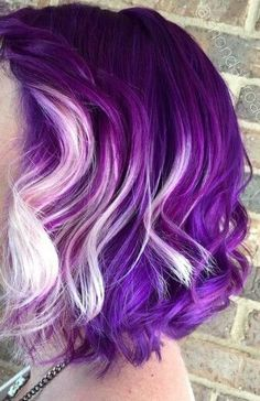 blueberry yogurt haircolor violet ombre bob purple hair color idea lavender ombr… - New Hair Design Hair Color Purple, Cool Hair Color, Purple Bob, Purple Style, Rainbow Hair Colors, Pink Hair, Funky Hairstyles, Pretty Hairstyles, Hairstyle Short
