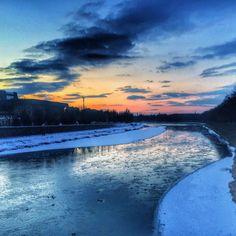 View of the Uzh river from the footbridge in Uzhgorod Western #Ukraine