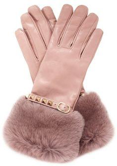 Valentino Pink Rabbit Fur Trimmed Cuff Rockstud Leather Gloves