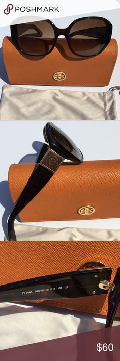 Tory Burch Tortoise Sunnies  Stunning Tory Burch Sunglasses! Dark Tortoise Color with Dark Tint Lenses. Gold Block Logo on both sides. Excellent Condition! One scratch on the left lenses but not in the line of sight. Frames are in perfect condition. Dust bag and case included. One small mark on the corner of the case. Tory Burch Accessories Sunglasses