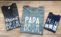 Papa Bear Shirt to match Mama Bear by LeeThreeEmbroidery on Etsy