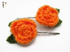 Hair Clip Bobby Pin Girl Accessories Crochet Rose Rosette Flower Orange - Bridal fashion accessories (*Amazon Partner-Link)
