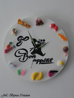 Horloge murale bonbon en fimo 30 cm : Décorations murales par jl-bijoux-creation