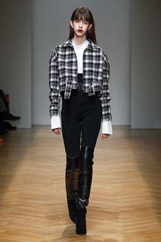 Sporty chic woman with tartan wool bomber for AquilanoRimondi FallWinter 2017-18 collection.
