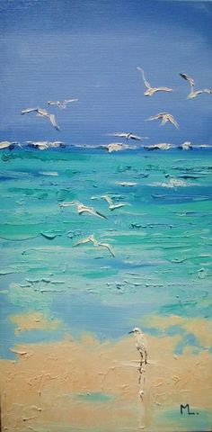 """ IN PARADISE ... "" SEA original painting palette knife GIFT MODERN URBAN ART OFFICE ART DECOR HOME DECOR GIFT IDEA (2016)…"