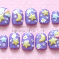 3D nails, deco nails, fairy kei, sweet lolita, star, lavender, pastel, kawaii, Japanese nail art, round tips