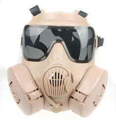 TACTICAL AIRSOFT PAINTBALL FULL FACE SKULL GAS DUAL FAN GAS MASK M50 Mud #Unbranded