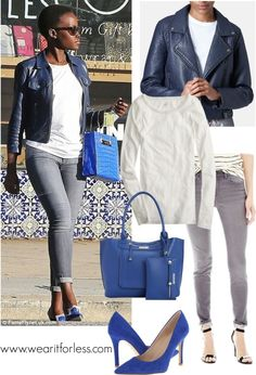 Lupita Nyong'o shows off her laidback style in shades of blue and a plain white tee and jeans.