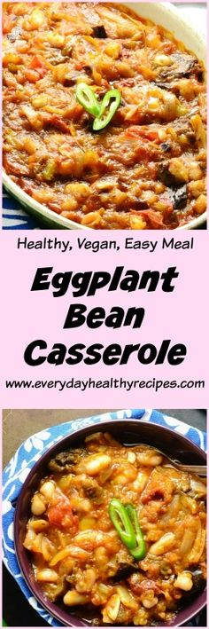 Eggplant Bean Casserole This low fat Eggplant Bean Casserole is bursting with flavour and goodness – the beans are baked in a gorgeously rich and chunky, dairy free eggplant sauce, making a quick, easy and delicious vegetarian weeknight meal idea. #eggplant #beans #casserole #lowfat #lowcalorie #vegetarianrecipes #easymeals #healthyrecipes #familydinner #vegan #dairyfree #glutenfree #everydayhealthyrecipes