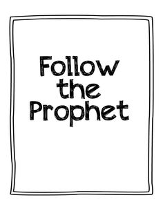 Follow the prophet flip chart