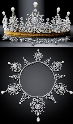 A belle epoque diamond and natural pearl tiara necklace, circa 1890, by Cartier. Designed as six scrolling foliate motifs, each centered on a diamond cluster, anf topped with an upright, pear-shaped natural pearl, with smaller diamond spacers, topped with circular diamonds. This shows both the tiara, set on its frame and the necklace once the frame has been removed.