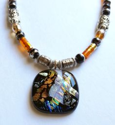 Beaded Necklace featuring Black and White Fused by 3DGlassDesigns