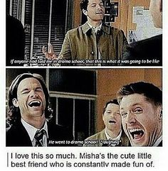 I actually feel a bit bad for Misha. and than I remember that he has the most assume life. Supernatural Actors, Jensen Ackles Supernatural, Supernatural Destiel, Castiel, Crowley, Sherlock, Film Serie, Super Natural, Misha Collins