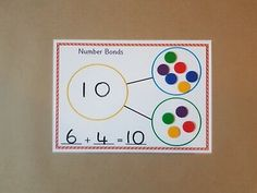 Number Bonds Mat and Worksheet, numeracy, maths, EYFS, teaching resource Maths Eyfs, Numeracy, Teaching Numbers, Math Numbers, Teaching Aids, Teaching Resources, Number Bonds To 20, Number Lines, Maths Working Wall