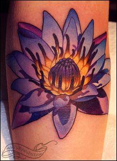 Blue lotus flower tattoo