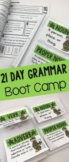 21 Day Grammar Boot Camp- Mastering Language Standards for Grades Sometimes, it is best to go back to the basics! Teaching Grammar, Teaching Language Arts, Grammar Lessons, Teaching Writing, Writing Activities, Teaching Tips, Writing Skills, Teaching English, Writing Lessons