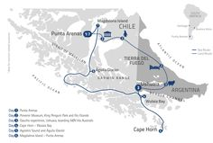 Map of tour - 6 nights Cap Horn, Night America, Les Fjords, King Penguin, Ushuaia, South Island, Round Trip, South America, Chile