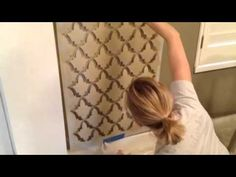 ▶ A Quick and Easy Wall Stencil Tutorial - YouTube great idea to add sparkle and glaze with same color
