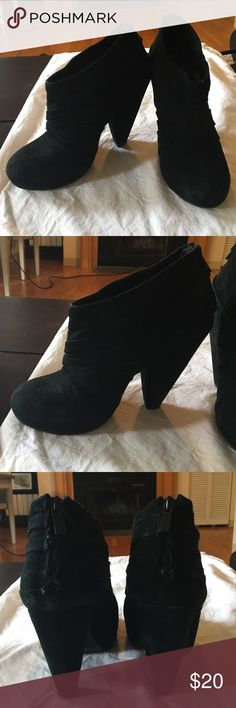 Dolce Vita Black suede booties Super cute but Too small for my size 10 feet. Everytime I wear them my feet are ruined the next day bc of cramped space. Can be worn formally or informally. Good condition. Few small marks but not noticeable at all when wearing- just when staring at in pics Dolce Vita Shoes Ankle Boots & Booties